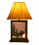 Walking Elk Scenic Metal Table Lamp with Night Light