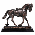 Walking Spanish Horse Statue - Antique Bronze Finish