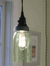Weathered Galvanized Quart Open Bottom Mason Jar Pendant Lamp Light