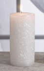 White Pearl Silver Brushed Pillar Candles, Set of 2