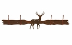 White Tail Deer Four Hook Metal Wall Coat Rack