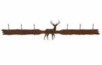 White Tail Deer Six Hook Metal Wall Coat Rack