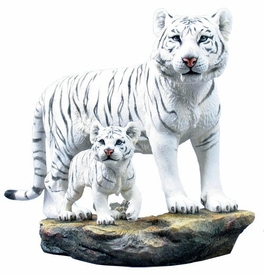 White Tiger and Baby White Tiger Sculpture