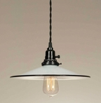 White with Black Stripe Dish Pendant Lamp Light