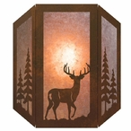 Whitetail Deer and Pine Trees Three Panel Metal Wall Sconce