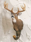 Whitetail Deer Hand Painted Sculpted Single Wall Hooks, Set of 3