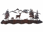 Whitetail Deer Scene Five Hook Metal Wall Coat Rack