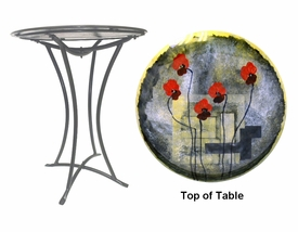 Wild Flowers Fused Glass Metal Table