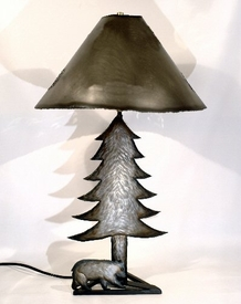Wildlife Bear and Tree Table Lamp with Shade, Natural Finish