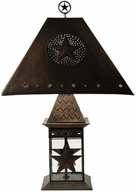 Wildlife Dark Bronze Lantern Table Lamp w/ Shade & Finial, 10 Designs