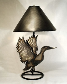 Wildlife Landing Duck Table Lamp with Shade, Natural Finish