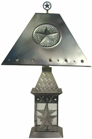 Wildlife Pewter Lantern Table Lamp with Shade and Finial, 10 Designs