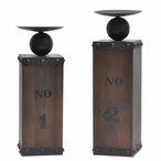 Wine Crate Pillar Candle Holders, Set of 2