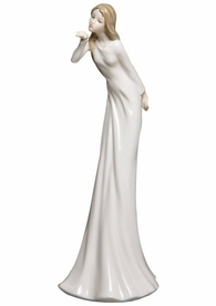 Winged Kiss Woman Blowing a Kiss Slim Porcelain Sculpture