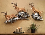 Winter Crossing Whitetail Deer Wall Sculpture