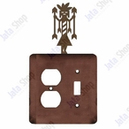 Yei Double Metal Outlet Cover with Single Toggle