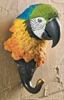 Yellow Parrot Bird Hand Painted Sculpted Single Wall Hooks, Set of 3
