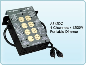 AS42DC 4 Channel x 1200W Portable Dimmer