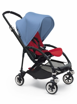 Bugaboo Bee3 Complete All Black Base Red/Ice Blue