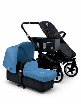 Bugaboo Donkey Mono 2014 Extendable All Black/Ice Blue