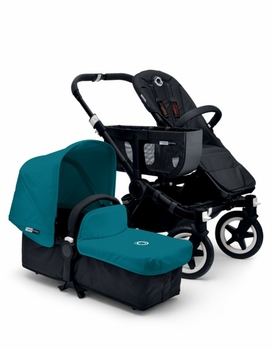 Bugaboo Donkey Mono 2014 Extendable All Black/Petrol Blue