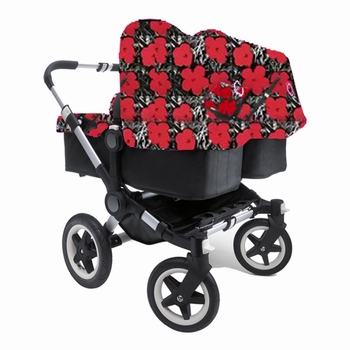 Bugaboo Donkey Twin Black Andy Warhol Flowers