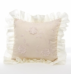 Glenna Jean Ava Pillow - Floral Overlay with Ruffle