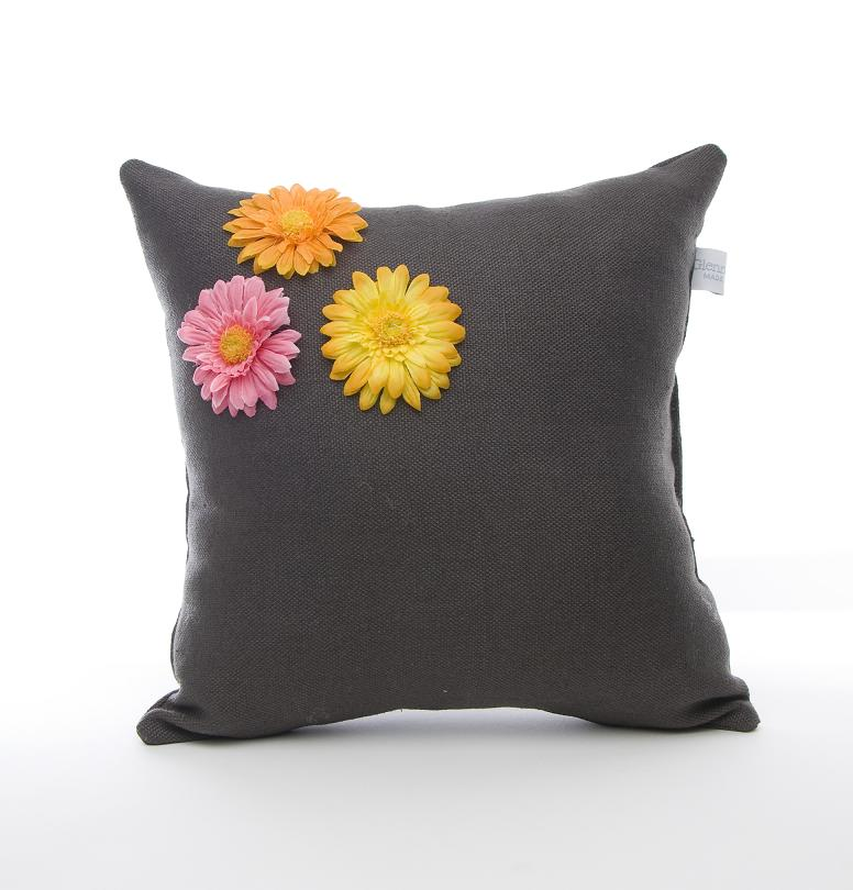Glenna Jean Kirby Pillow Charcoal With Dimensional Flowers