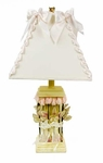 Glenna Jean Yellow Base and Roses and Ribbons Lamp