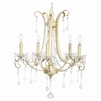 Jubilee Colleen Chandelier - 5 Light - Ivory with glass center and crystals