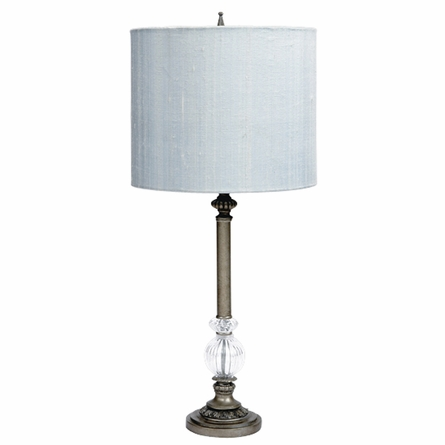 jubilee jubilee pewter large glass ball lamp with blue drum shade. Black Bedroom Furniture Sets. Home Design Ideas