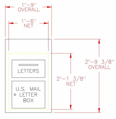 Outgoing Mail Drop Box / 1-Hopper Door - 6 Units High - Recess Mount