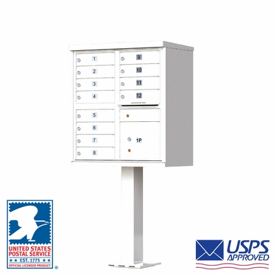 12 Door CBU Mailbox - White (Other Colors Available)