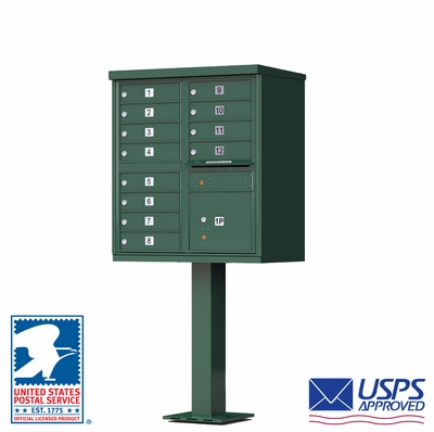12-Door Standard Commercial Cluster Box Unit (CBU) In Forest Green