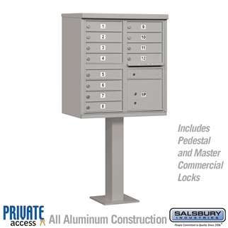 Salsbury 3312GRY-P 12 Door Cluster Mailbox Gray - Private Access