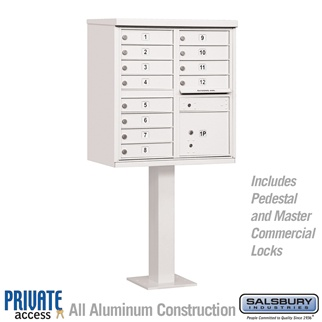 Salsbury 3312WHT-P 12 Door Cluster Mailbox White - Private Access