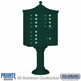 Salsbury 3312R-GRN-P 12 Door Regency Decorative Cluster Mailbox Green - Private Access