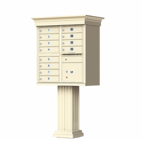 Sandstone Cluster Box Unit with Crown Cap and Pillar Pedestal accessories - 12 compartment