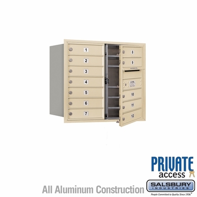Salsbury 3707D-12SFP 4C Mailboxes 12 Tenant Doors Front Loading