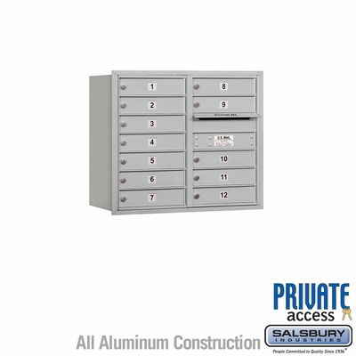 Salsbury 3707D-12ARP 4C Mailboxes 12 Tenant Doors Rear Loading
