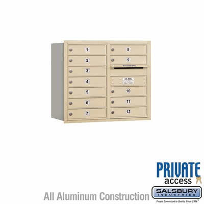 Salsbury 3707D-12SRP 4C Mailboxes 12 Tenant Doors Rear Loading