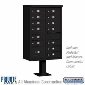 Salsbury 3313BLK-P 13 Door Cluster Mailbox Black - Private Access