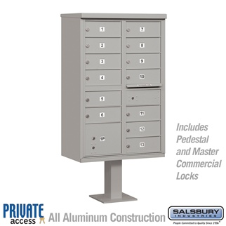 Salsbury 3313GRY-P 13 Door Cluster Mailbox Gray - Private Access