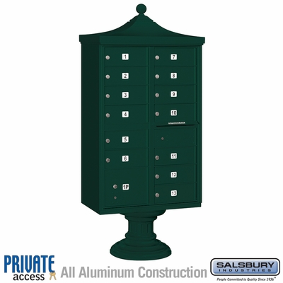 Salsbury 3313R-GRN-P 13 Door Regency Decorative Cluster Mailbox Green - Private Access