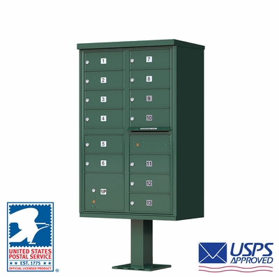 CBU - 13 Tenant Boxes Cluster Mailbox In Forest Green