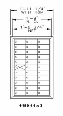 1450 Series Front-Loading Private Distribution Mailbox - 11 x 3 Doors