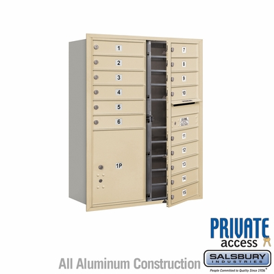 Salsbury 3711D-15SFP 4C Mailboxes 15 Tenant Doors Front Loading