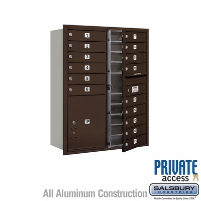 Salsbury 3711D-15ZFP 4C Mailboxes 15 Tenant Doors Front Loading
