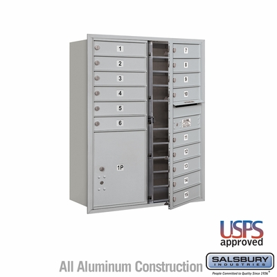Salsbury 3711D-15AFU 4C Mailboxes 15 Tenant Doors Front Loading