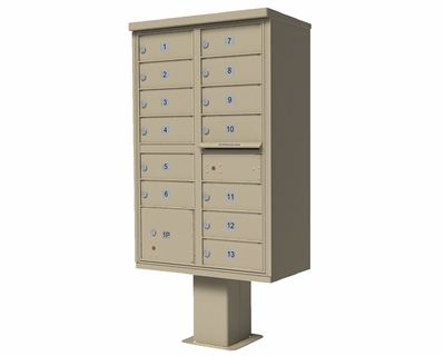 13-Door High Security Cluster Box Unit With Pedestal